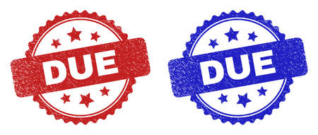 Rosette DUE seal stamps. Flat vector textured seal stamps with DUE title inside rosette with stars, in blue and red color versions. Watermarks with grunged style. 向量圖像