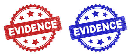 Rosette EVIDENCE seal stamps. Flat vector textured seal stamps with EVIDENCE text inside rosette shape with stars, in blue and red color versions. Watermarks with scratched surface. 向量圖像