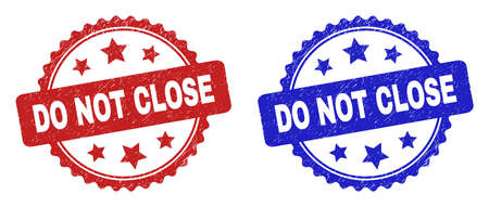 Rosette DO NOT CLOSE seal stamps. Flat vector distress seal stamps with DO NOT CLOSE caption inside rosette with stars, in blue and red color versions. Rubber imitations with unclean style.