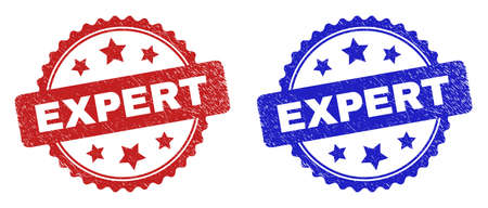 Rosette EXPERT watermarks. Flat vector distress stamps with EXPERT phrase inside rosette shape with stars, in blue and red color variants. Watermarks with distress surface. 일러스트