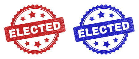 Rosette ELECTED watermarks. Flat vector grunge seal stamps with ELECTED title inside rosette with stars, in blue and red color versions. Watermarks with unclean surface.