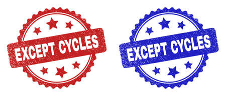Rosette EXCEPT CYCLES seals. Flat vector grunge watermarks with EXCEPT CYCLES phrase inside rosette shape with stars, in blue and red color variants. Watermarks with grunge texture.