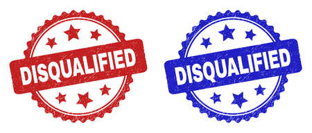 Rosette DISQUALIFIED watermarks. Flat vector textured watermarks with DISQUALIFIED caption inside rosette shape with stars, in blue and red color versions. Watermarks with distress surface.