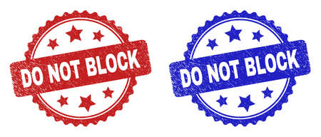 Rosette DO NOT BLOCK seal stamps. Flat vector grunge seal stamps with DO NOT BLOCK caption inside rosette shape with stars, in blue and red color variants. Rubber imitations with grunge texture. 向量圖像