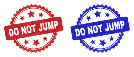 Rosette DO NOT JUMP watermarks. Flat vector distress watermarks with DO NOT JUMP phrase inside rosette with stars, in blue and red color versions. Imprints with distress surface.