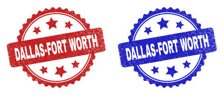 Rosette DALLAS-FORT WORTH stamps. Flat vector grunge stamps with DALLAS-FORT WORTH phrase inside rosette with stars, in blue and red color variants. Rubber imitations with grunge style.