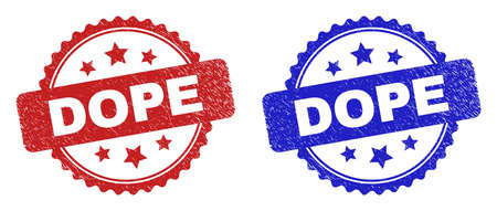 Rosette DOPE seal stamps. Flat vector distress seal stamps with DOPE text inside rosette shape with stars, in blue and red color variants. Watermarks with scratched surface. Illusztráció