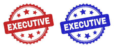 Rosette EXECUTIVE seal stamps. Flat vector scratched stamps with EXECUTIVE text inside rosette with stars, in blue and red color versions. Watermarks with scratched style.