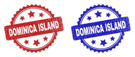 Rosette DOMINICA ISLAND stamps. Flat vector grunge stamps with DOMINICA ISLAND text inside rosette shape with stars, in blue and red color variants. Imprints with grunge style.