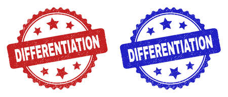 Rosette DIFFERENTIATION seal stamps. Flat vector distress seal stamps with DIFFERENTIATION title inside rosette with stars, in blue and red color variants. Rubber imitations with distress style. 일러스트