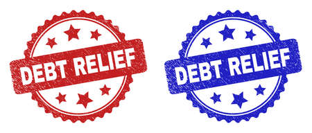 Rosette DEBT RELIEF stamps. Flat vector grunge seal stamps with DEBT RELIEF text inside rosette with stars, in blue and red color versions. Watermarks with corroded texture.