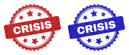 Rosette CRISIS seals. Flat vector textured seals with CRISIS caption inside rosette shape with stars, in blue and red color versions. Imprints with corroded style. Illusztráció