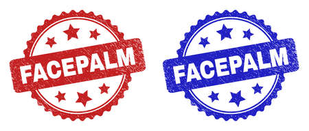 Rosette FACEPALM stamps. Flat vector grunge watermarks with FACEPALM text inside rosette shape with stars, in blue and red color versions. Watermarks with grunge texture.