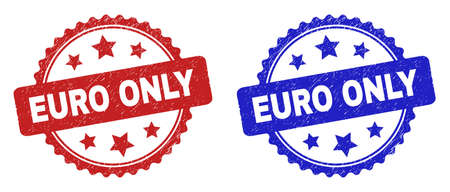 Rosette EURO ONLY seal stamps. Flat vector textured seal stamps with EURO ONLY caption inside rosette with stars, in blue and red color variants. Watermarks with unclean texture.