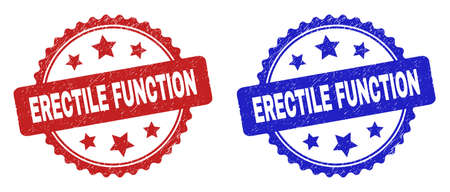 Rosette ERECTILE FUNCTION seal stamps. Flat vector scratched seal stamps with ERECTILE FUNCTION phrase inside rosette with stars, in blue and red color variants. Watermarks with unclean surface.