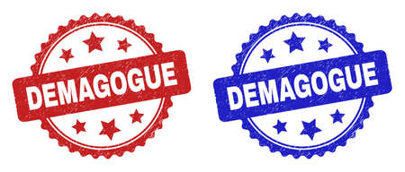 Rosette DEMAGOGUE stamps. Flat vector grunge stamps with DEMAGOGUE phrase inside rosette shape with stars, in blue and red color versions. Imprints with corroded texture. Vecteurs