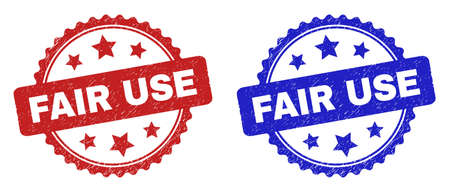 Rosette FAIR USE watermarks. Flat vector distress seals with FAIR USE title inside rosette shape with stars, in blue and red color variants. Watermarks with grunged surface.