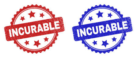 Rosette INCURABLE seal stamps. Flat vector textured seal stamps with INCURABLE caption inside rosette shape with stars, in blue and red color versions. Watermarks with grunged surface. Иллюстрация