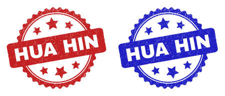 Rosette HUA HIN stamps. Flat vector grunge seal stamps with HUA HIN text inside rosette shape with stars, in blue and red color versions. Watermarks with grunged texture.