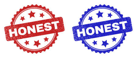Rosette HONEST stamps. Flat vector scratched seal stamps with HONEST title inside rosette with stars, in blue and red color variants. Watermarks with grunge style.