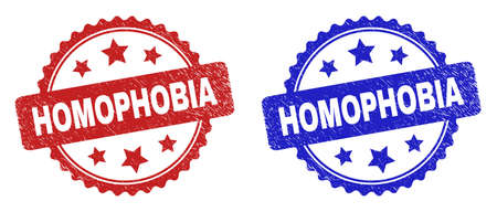 Rosette HOMOPHOBIA watermarks. Flat vector scratched watermarks with HOMOPHOBIA title inside rosette with stars, in blue and red color versions. Watermarks with corroded texture.