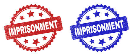 Rosette IMPRISONMENT stamps. Flat vector scratched seal stamps with IMPRISONMENT phrase inside rosette shape with stars, in blue and red color variants. Rubber imitations with scratched style.