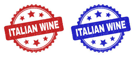 Rosette ITALIAN WINE seals. Flat vector textured watermarks with ITALIAN WINE message inside rosette with stars, in blue and red color variants. Watermarks with corroded surface.