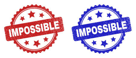 Rosette IMPOSSIBLE seal stamps. Flat vector scratched seal stamps with IMPOSSIBLE phrase inside rosette shape with stars, in blue and red color versions. Watermarks with unclean surface.