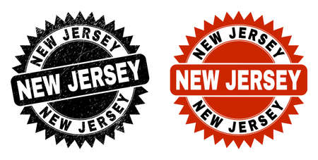 Black rosette NEW JERSEY seal stamp. Flat vector distress stamp with NEW JERSEY phrase inside sharp star shape, and original clean template. Watermark with distress surface.