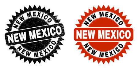 Black rosette NEW MEXICO watermark. Flat vector scratched watermark with NEW MEXICO caption inside sharp rosette, and original clean version. Imprint with corroded style.