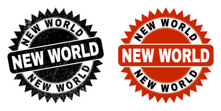 Black rosette NEW WORLD seal. Flat vector grunge seal with NEW WORLD phrase inside sharp rosette, and original clean template. Watermark with grunged surface.