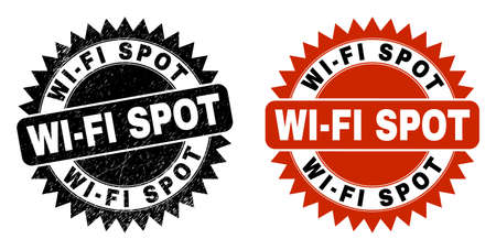 Black rosette WI-FI SPOT stamp. Flat vector distress seal stamp with WI-FI SPOT message inside sharp star shape, and original clean version. Rubber imitation with distress style. Illustration