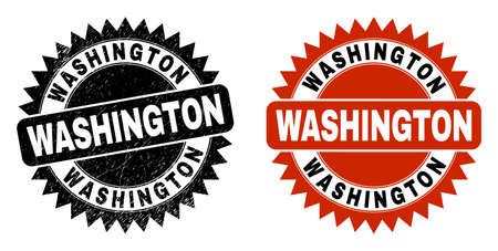 Black rosette WASHINGTON seal stamp. Flat vector distress seal stamp with WASHINGTON caption inside sharp star shape, and original clean source. Imprint with grunged texture.