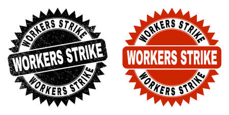 Black rosette WORKERS STRIKE watermark. Flat vector scratched seal stamp with WORKERS STRIKE caption inside sharp rosette, and original clean source. Watermark with scratched surface.