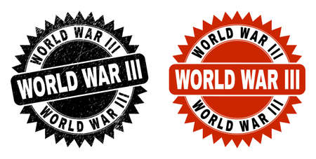 Black rosette WORLD WAR III seal. Flat vector grunge seal with WORLD WAR III caption inside sharp rosette, and original clean template. Rubber imitation with corroded surface.
