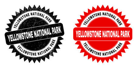 Black rosette YELLOWSTONE NATIONAL PARK seal. Flat vector scratched seal with YELLOWSTONE NATIONAL PARK caption inside sharp rosette, and original clean source. Imprint with scratched style.