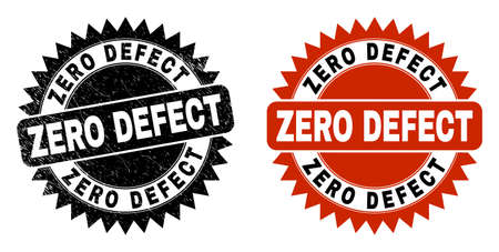 Black rosette ZERO DEFECT seal stamp. Flat vector textured seal stamp with ZERO DEFECT message inside sharp rosette, and original clean version. Rubber imitation with unclean style.