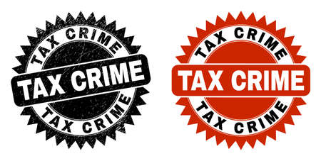 Black rosette TAX CRIME seal. Flat vector scratched seal stamp with TAX CRIME caption inside sharp rosette, and original clean source. Imprint with scratched style.