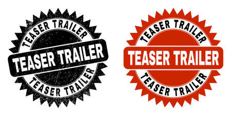 Black rosette TEASER TRAILER stamp. Flat vector textured seal stamp with TEASER TRAILER message inside sharp rosette, and original clean source. Rubber imitation with grunge style.