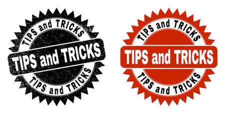 Black rosette TIPS AND TRICKS watermark. Flat vector grunge watermark with TIPS AND TRICKS phrase inside sharp star shape, and original clean source. Watermark with grunge texture.