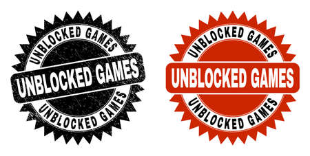 Black rosette UNBLOCKED GAMES watermark. Flat vector scratched stamp with UNBLOCKED GAMES phrase inside sharp rosette, and original clean template. Rubber imitation with scratched surface.
