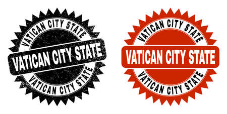 Black rosette VATICAN CITY STATE seal stamp. Flat vector scratched seal with VATICAN CITY STATE message inside sharp rosette, and original clean version. Imprint with corroded texture.
