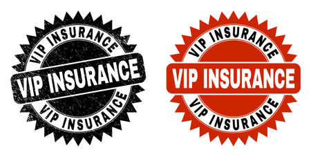 Black rosette VIP INSURANCE seal. Flat vector grunge seal stamp with VIP INSURANCE text inside sharp rosette, and original clean version. Imprint with unclean surface.