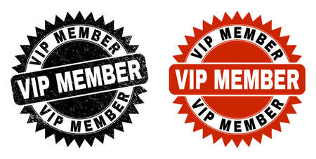 Black rosette VIP MEMBER stamp. Flat vector textured seal stamp with VIP MEMBER message inside sharp rosette, and original clean source. Rubber imitation with grunged style.