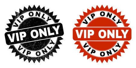 Black rosette VIP ONLY seal. Flat vector grunge seal with VIP ONLY message inside sharp rosette, and original clean template. Imprint with unclean style.