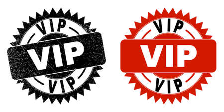 Black rosette VIP seal stamp. Flat vector distress seal stamp with VIP text inside sharp rosette, and original clean source. Imprint with unclean style.