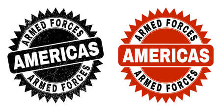 Black rosette ARMED FORCES AMERICAS seal stamp. Flat vector distress seal with ARMED FORCES AMERICAS phrase inside sharp rosette, and original clean template. Rubber imitation with corroded surface.