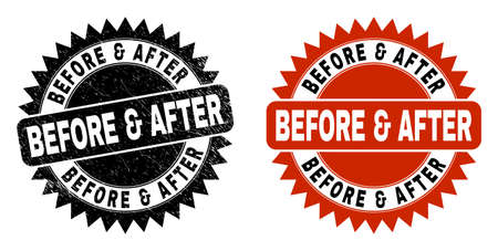 Black rosette BEFORE & AFTER seal stamp. Flat vector distress seal stamp with BEFORE & AFTER phrase inside sharp rosette, and original clean version. Imprint with unclean texture. Vektorové ilustrace
