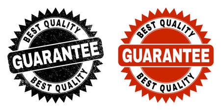 Black rosette BEST QUALITY GUARANTEE stamp. Flat vector distress stamp with BEST QUALITY GUARANTEE title inside sharp rosette, and original clean source. Imprint with distress surface.