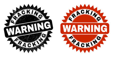 Black rosette FRACKING WARNING seal stamp. Flat vector scratched seal stamp with FRACKING WARNING caption inside sharp star shape, and original clean source. Watermark with scratched surface.